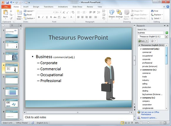 How to use thesaurus in powerpoint powerpoint presentation for How to use a template in powerpoint