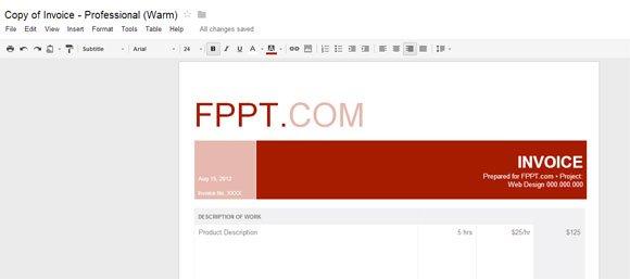 warm professional invoice for google docs powerpoint presentation. Black Bedroom Furniture Sets. Home Design Ideas