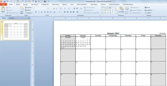Calendar Design Powerpoint : Make your free calendar template in powerpoint