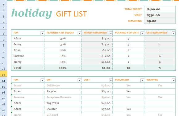 Holiday Gift List Template for Excel 2013 | PowerPoint Presentation