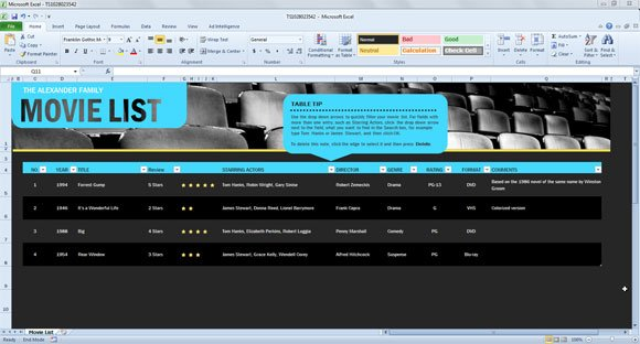 movie list spreadsheet template for excel 2013 powerpoint presentation. Black Bedroom Furniture Sets. Home Design Ideas