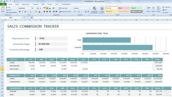 sales commission tracker template for excel 2013