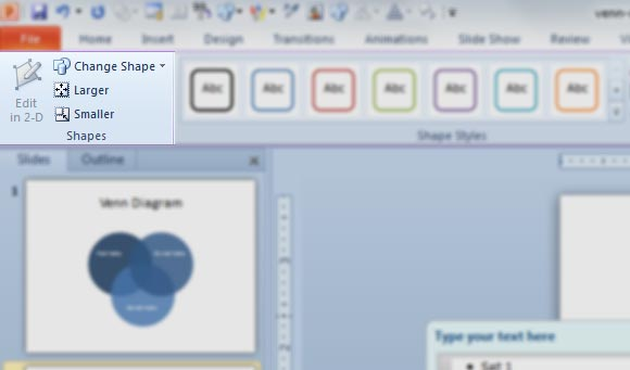 how to create a venn diagram in powerpoint 2010