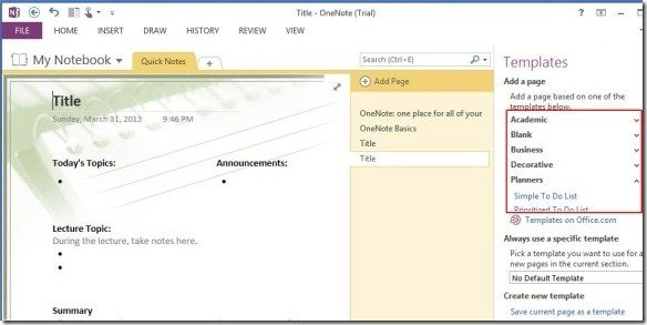 using downloaded microsoft templates for onenote 2013