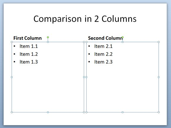 Columns Slide Layout in PowerPoint 2010 | PowerPoint Presentation