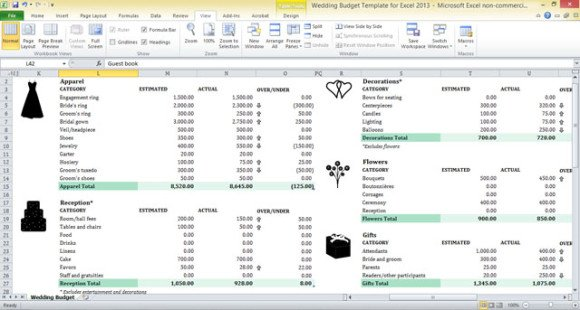 Wedding Budget Template For Excel 2013 Powerpoint Presentation
