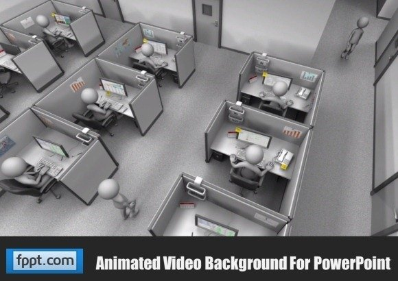 Animated Powerpoint Template Of Office Staff In Cubicles