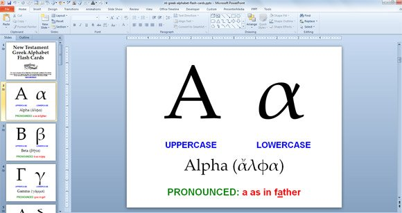 ... Response to Greek Alphabet PowerPoint Presentation With Flash Cards