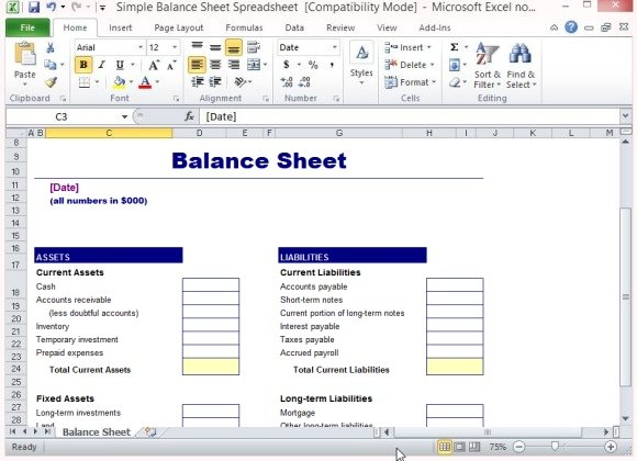 gallery balance sheet format in excel