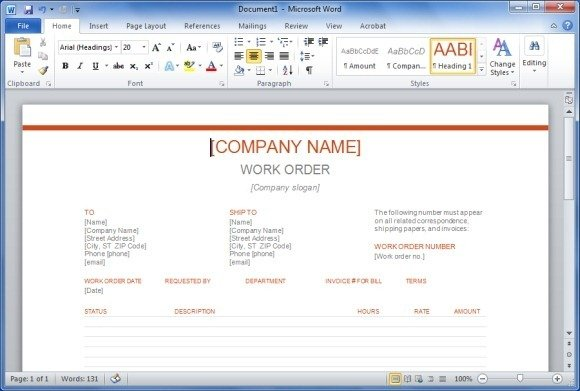 With this Word Template you can easily create a work or job order for ...