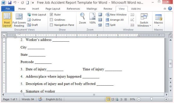 100 original papers – Free Printable Incident Reports