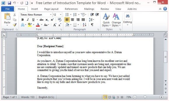sample letters introducing your business