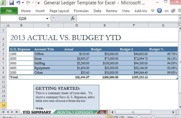 General Ledger Template For Excel | PowerPoint Presentation