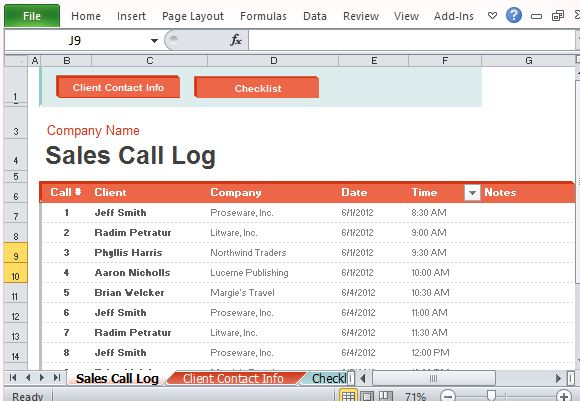 call monitoring template - sales call log organizer for excel powerpoint presentation