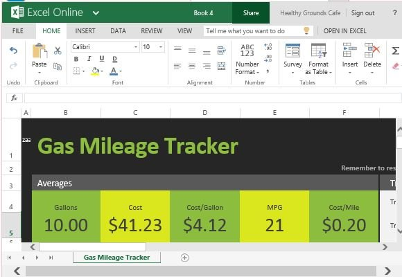 Free Gas Mileage Tracker For Excel Online Powerpoint
