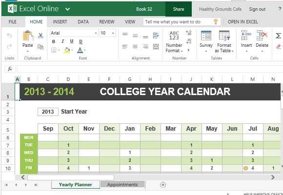 College Year Calendar Template For Excel Powerpoint