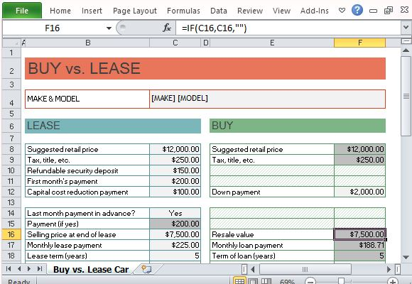Car Buy Vs Lease Calculator For Excel Powerpoint