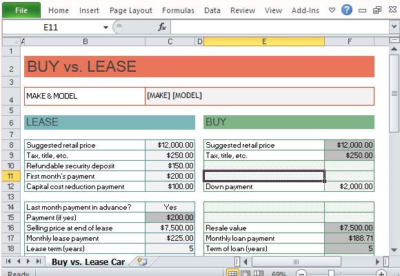 car buy vs lease calculator for excel powerpoint presentation. Black Bedroom Furniture Sets. Home Design Ideas
