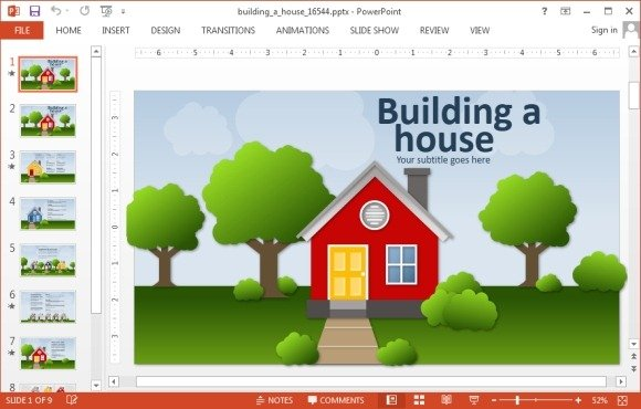 Animated building a house powerpoint template powerpoint for Build a home online free