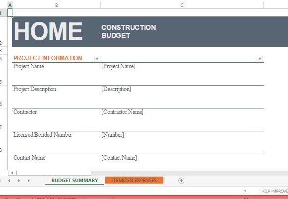 Home Construction Budget Template For Excel Powerpoint