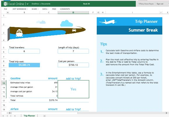 Trip Planner Template For Excel Online   PowerPoint ...